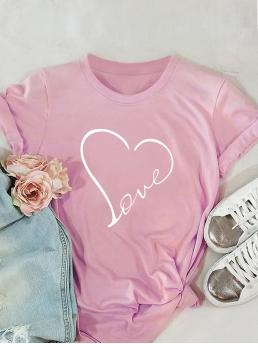 Casual Geometric and Letter Regular Fit Round Neck Short Sleeve Pullovers Pink Regular Length Heart Print Tee