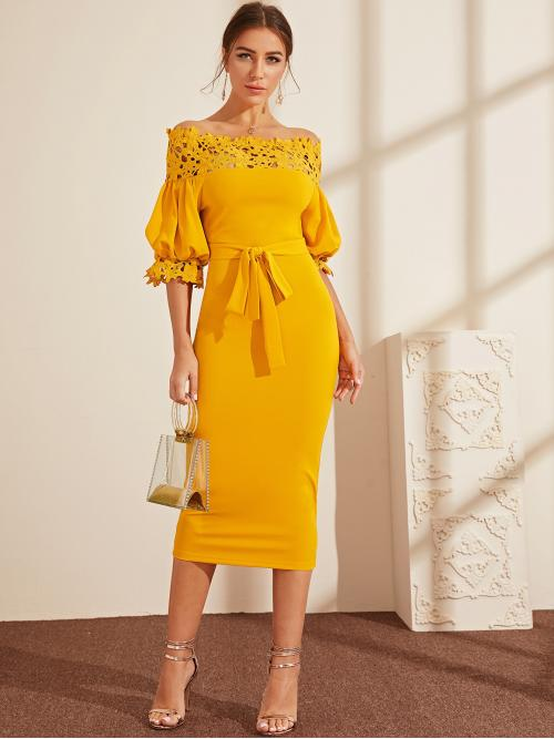 Elegant Bodycon Plain Slim Fit Boat Neck Half Sleeve Natural Yellow Long Length Guipure Lace Yoke Puff Sleeve Belted Pencil Dress with Belt