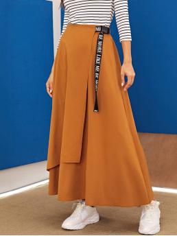 Casual Wrap Letter High Waist Camel Maxi Length Letter Print Push Buckle Belted Wrap Skirt with Belt
