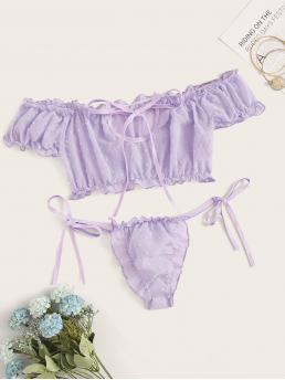 Sexy Sets Plain Thongs & V-Strings Purple Lettuce Trim Dobby Mesh Tie Side Lingerie Set