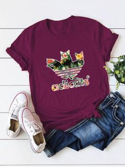 Casual Letter and Plants Regular Fit Round Neck Short Sleeve Regular Sleeve Pullovers Burgundy Regular Length Round Neck Letter And Cat Print Tee
