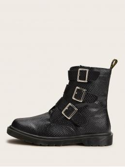 Comfort Other Round Toe Letter Side zipper Black Flat Buckle Strap Textured Ankle Boots