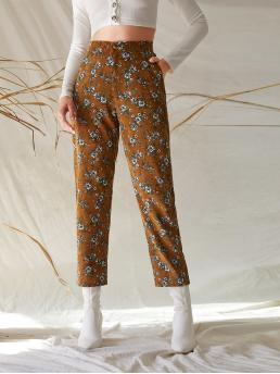 Elegant Floral Tapered/Carrot Regular Zipper Fly High Waist Multicolor Cropped Length Floral Print Crop Corduroy Pants with Lining