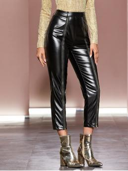 Glamorous Plain Straight Leg Regular Zipper Fly High Waist Black Cropped Length Zip Front Faux Patent Pants