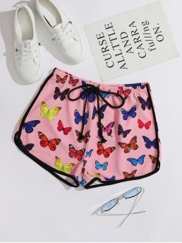 Ladies Pink Natural Waist Contrast Binding Track Shorts Knot Waist Allover Butterfly Print Dolphin Shorts