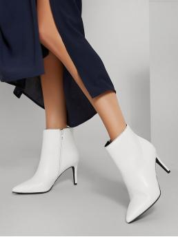 White Classic Boots High Heel Stiletto Fake Leather Zip-up Heel Booties Affordable
