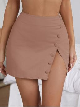 Dusty Pink High Waist Button Straight Solid up Skirt Shopping
