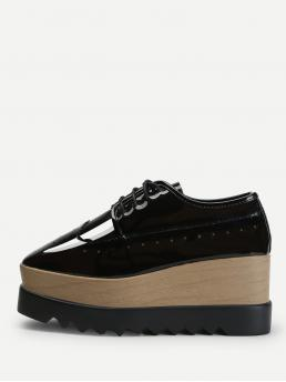 Cheap Corduroy Black Flatfrom Shoes Bow Platform Oxfords