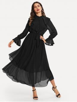 Vintage and Elegant A Line Plain Flared Regular Fit Stand Collar Long Sleeve Natural Black Maxi Length Ruffle Detail Crochet Trim Flowy Dress with Belt