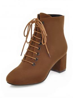 Lace-up Boots Brown Mid Heel Chunky Lace Up Suede Block Heeled Boots