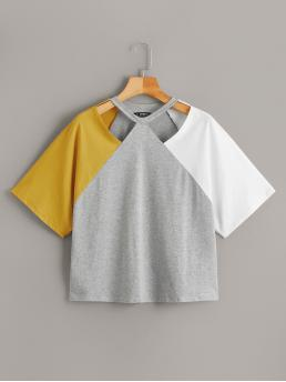 Casual Regular Fit Round Neck Short Sleeve Pullovers Multicolor Regular Length Cut Out Front Raglan Sleeve Tee