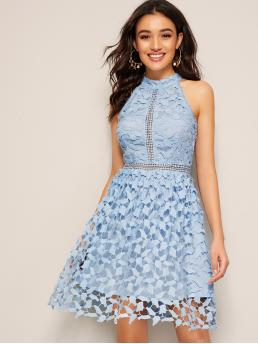 Romantic A Line Plain Flared Regular Fit Halter Sleeveless High Waist Blue and Pastel Short Length Guipure Lace Overlay Halter Dress with Lining