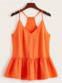 Cute Cami Plain Flared Regular Fit Spaghetti Strap and V neck Orange and Bright Regular Length Neon Orange Racerback Peplum Top