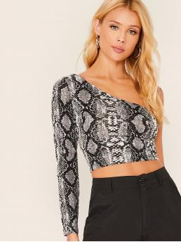Sexy Snakeskin Print Slim Fit One Shoulder Long Sleeve Regular Sleeve Pullovers Multicolor Crop Length One Shoulder Snakeskin Crop Top