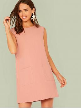 Casual Tunic Plain Straight Loose Round Neck Sleeveless Natural Pink Short Length Solid Pocket Patched Tunic Dress
