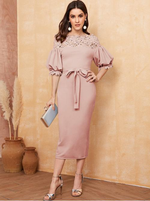Elegant Bodycon Plain Slim Fit Boat Neck Half Sleeve Bishop Sleeve Natural Pink Long Length Guipure Lace Yoke Puff Sleeve Belted Pencil Dress with Belt