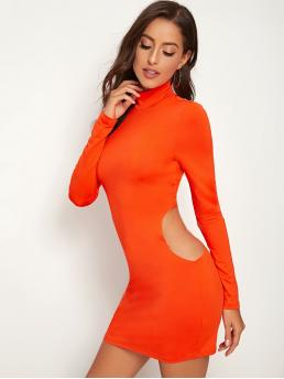Sexy Bodycon Plain Pencil Slim Fit High Neck Long Sleeve Regular Sleeve Natural Orange and Bright Mini Length Neon Orange High Neck Cut Out Waist Bodycon Dress