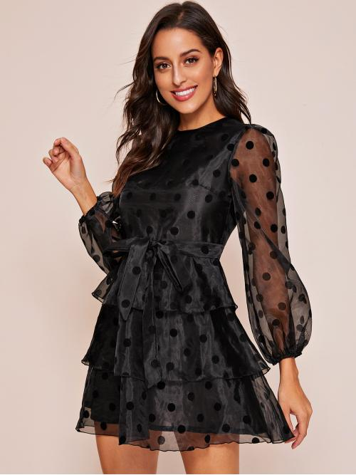 Glamorous Fit and Flare Polka Dot Layered/Tiered Regular Fit Round Neck Long Sleeve Bishop Sleeve High Waist Black Short Length Lantern Sleeve Layered Hem Self Belted Dobby Mesh Dress with Belt with Lining