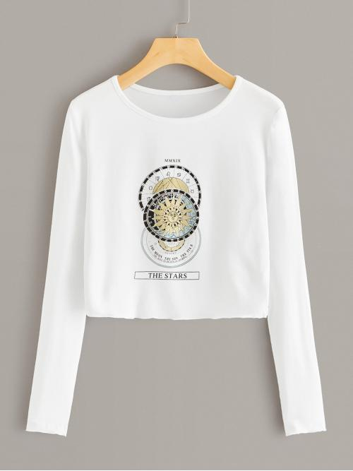 Casual Letter and Graphic Regular Fit Round Neck Long Sleeve Regular Sleeve Pullovers White Crop Length Horoscope And Letter Graphic Crop Tee