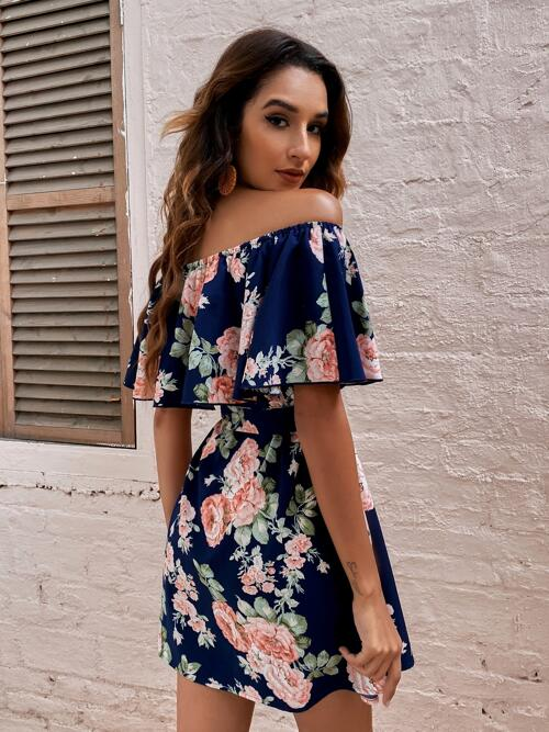 Beautiful Navy Blue all over Print Belted off the Shoulder Dress