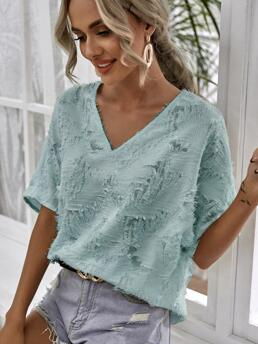 Clearance Short Sleeve Top Polyester Plain Fuzzy Blouse