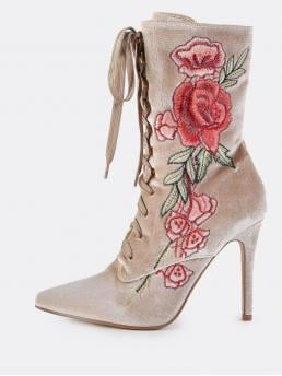 Glamorous Lace-up Boots Point Toe Floral No zipper Nude High Heel Stiletto Velvet Floral Embroidered Lace Up Booties NUDE