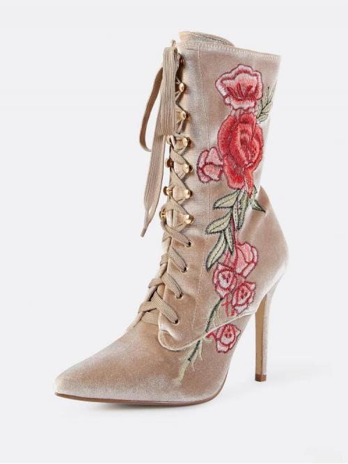Trending now Polyester Khaki Combat Boots Embroidery Booties Nude