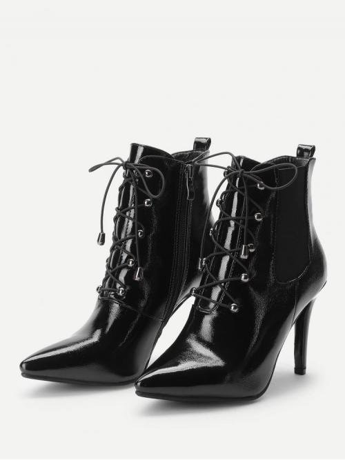 Polyester Black Chelsea Boots Cut out Front Patent Leather Cheap