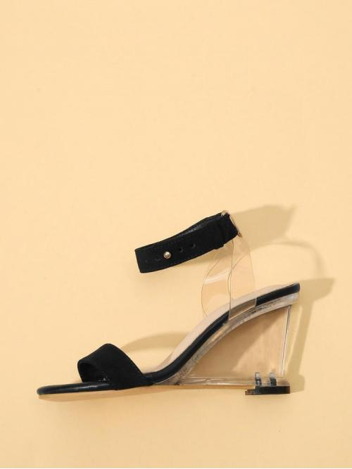Cheap Corduroy Black Mules Scallop Ankle Cuff Clear Wedges