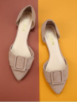 Womens Faux Fur Apricot Shirt Belted Pointed Toe Dorsay Flats