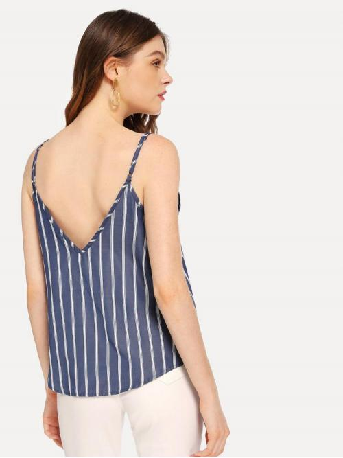 Long Sleeve Cami Scallop Satin Double Top on Sale