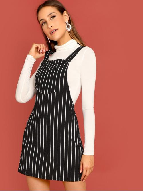 Preppy Pinafore Striped Straight Loose Straps Sleeveless Natural Black and White Short Length Bib Pocket Pinstripe Overall Dress