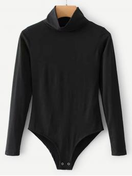 Tee Plain Regular High Neck Long Sleeve Mid Waist Black High Neck Knit Bodysuit