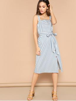 Boho Cami Striped Slit Loose Straps Sleeveless Natural Blue Midi Length Button Through Side Overall Striped Dress with Belt