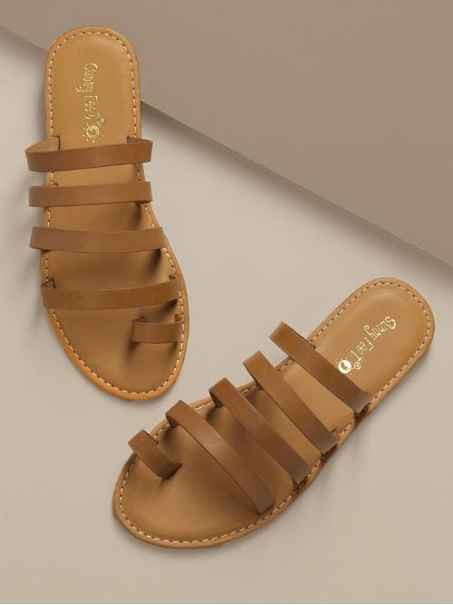 Boho Toe Post Brown Top Loop Multi Strap Slide On Flat Sandals