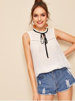 Casual Top Regular Fit Round Neck Sleeveless Pullovers White Regular Length Frilled Tie Neck Lace Insert Sleeveless Top