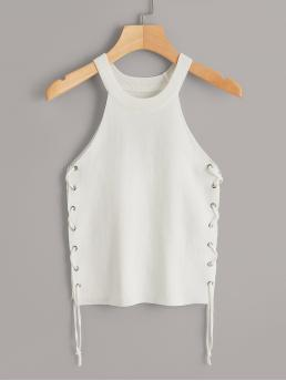 Sexy Cami Plain Slim Fit Halter Top White Crop Length Lace Up Side Tank Top