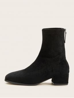 Comfort Sock Boots Almond Toe Plain Back zipper Black Low Heel Chunky Zip Back Chunky Heeled Boots