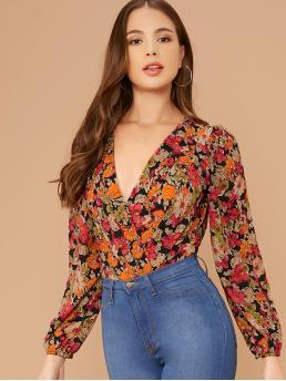 Casual Other Floral Regular V neck Long Sleeve Regular Sleeve Mid Waist Multicolor Surplice V-Neck Long Sleeve Floral Bodysuit