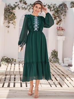Fashion Green Graphic Tie Back Round Neck Embroidered Detail Ruffle Trim Swiss Dot Dress