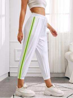 Sporty Sweatpants Striped Regular Drawstring Waist High Waist White Cropped Length Side Stripe Drawstring Waist Sweatpants