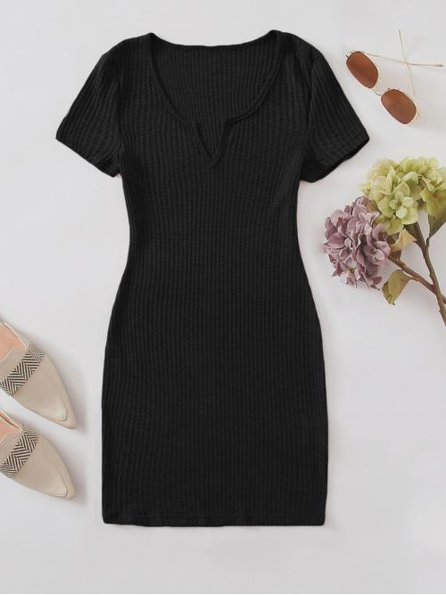 Casual Bodycon Plain Pencil Slim Fit Notched Short Sleeve Regular Sleeve Natural Black Short Length Notched Neckline Waffle Knit Dress