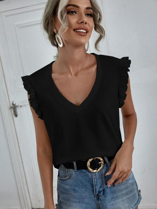 Affordable Cap Sleeve Ruffle Polyester Plain Trim Deep V-neck Solid Tee