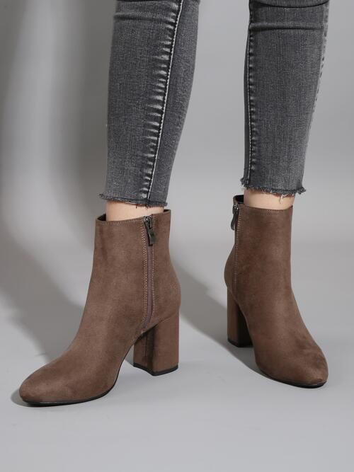 Coffee Brown Suede Rubber Pu Leather Minimalist Slide Zip High Heeled Boots on Sale