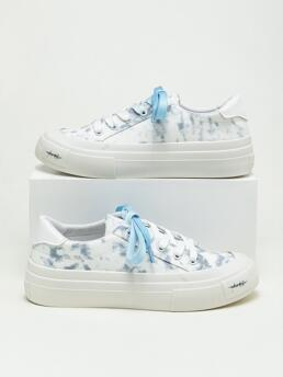 Clearance Blue Canvas Tpr Fabric Tie Dye Lace-up Front Shoes