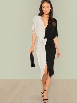 Discount Multicolor Colorblock Twist V Neck Front Slit Splice Dress