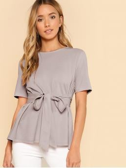 Beautiful Short Sleeve Top Belted Cotton Button Keyhole Back Self Belt Top