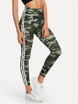 Sporty Regular Striped and Camo Multicolor Cropped Length Camo Print Striped Tape Side Leggings