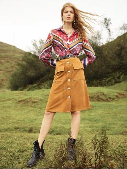 Casual A Line Plain Mid Waist Camel Above Knee/Short Length Pocket Front Button Up Suede Skirt Without Belt with Belt