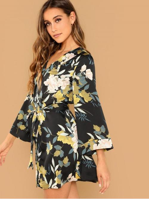 Sale Multicolor Floral Belted V Neck Self Tie Surplice Kimodress